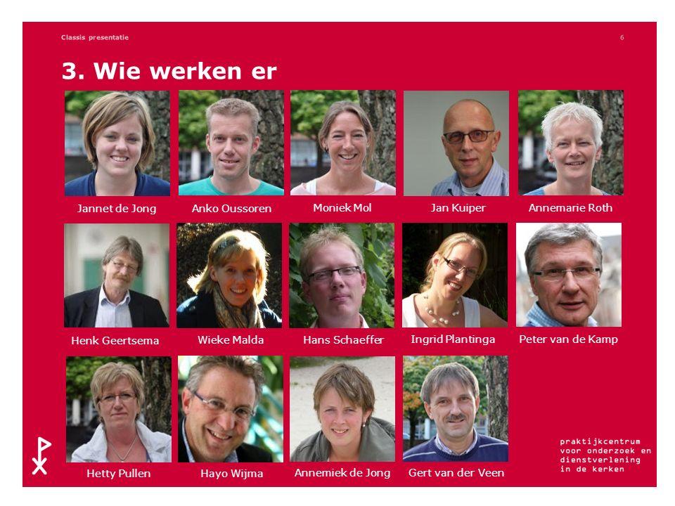 3. Wie werken er Classis presentatie6 Jannet de Jong Anko OussorenJan Kuiper Moniek MolAnnemarie Roth Henk Geertsema Wieke MaldaHans Schaeffer Ingrid