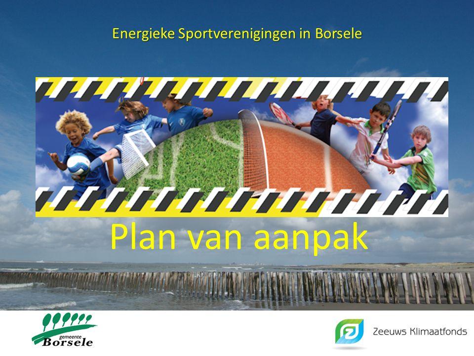 Energieke Sportverenigingen in Borsele Plan van aanpak, inhoud: 1.Aanleiding 2.Doelstelling 3.Inventarisatie 4.Mogelijkheden voor energiebesparing en – opwekking 5.Maatregelen en acties 6.Evaluatie en Monitoring 7.Bijlagen