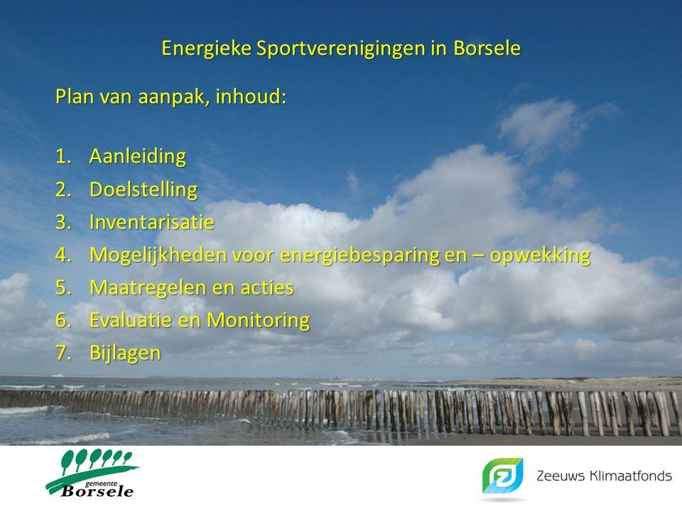 Energieke Sportverenigingen in Borsele Plan van aanpak, inhoud: 1.Aanleiding 2.Doelstelling 3.Inventarisatie 4.Mogelijkheden voor energiebesparing en