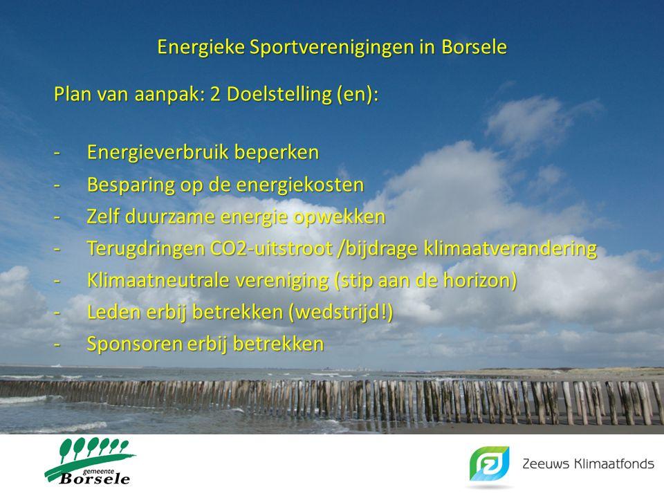 Energieke Sportverenigingen in Borsele Plan van aanpak: 2 Doelstelling (en): -Energieverbruik beperken -Besparing op de energiekosten -Zelf duurzame e