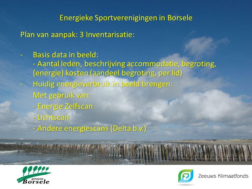 Energieke Sportverenigingen in Borsele Plan van aanpak: 3 Inventarisatie: -Basis data in beeld: - Aantal leden, beschrijving accommodatie, begroting,