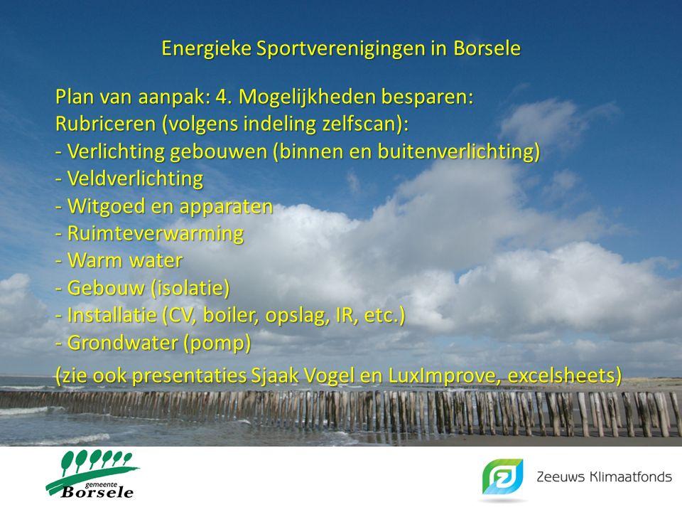 Energieke Sportverenigingen in Borsele Maak gebruik van een lijst of excel sheet Breng in beeld: - Alle energieverbruikers (vermogen, verbruik en kosten) - Vervangingsopties (vermogen, verbruik en kosten) - Besparing