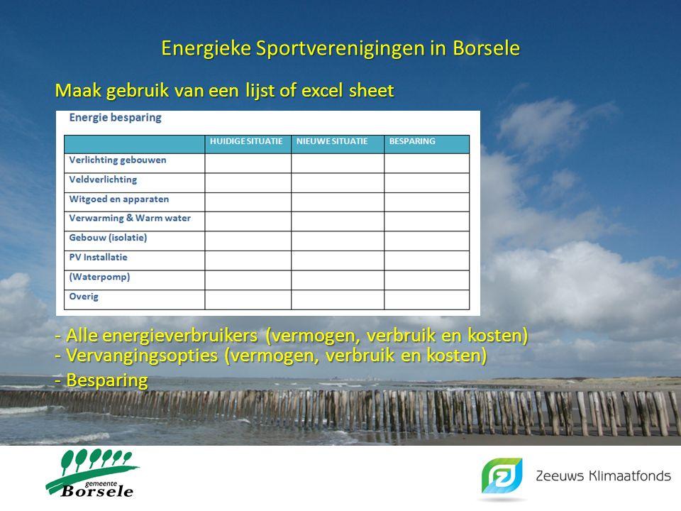 Energieke Sportverenigingen in Borsele Maak gebruik van een lijst of excel sheet Breng in beeld: - Alle energieverbruikers (vermogen, verbruik en kost