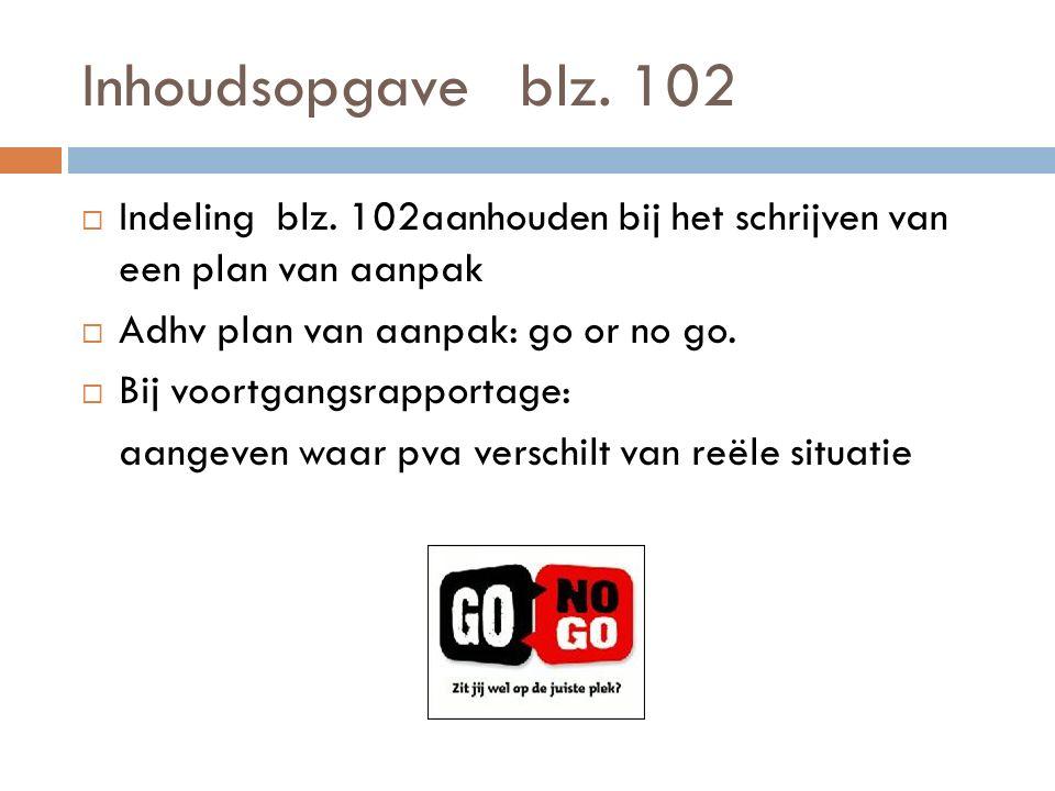 Inhoudsopgave blz. 102  Indeling blz. 102aanhouden bij het schrijven van een plan van aanpak  Adhv plan van aanpak: go or no go.  Bij voortgangsrap