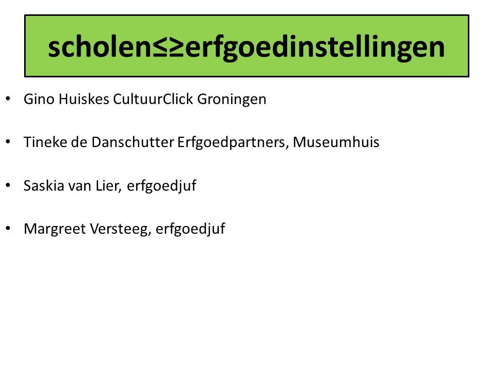 scholen≤≥erfgoedinstellingen Gino Huiskes CultuurClick Groningen Tineke de Danschutter Erfgoedpartners, Museumhuis Saskia van Lier, erfgoedjuf Margreet Versteeg, erfgoedjuf