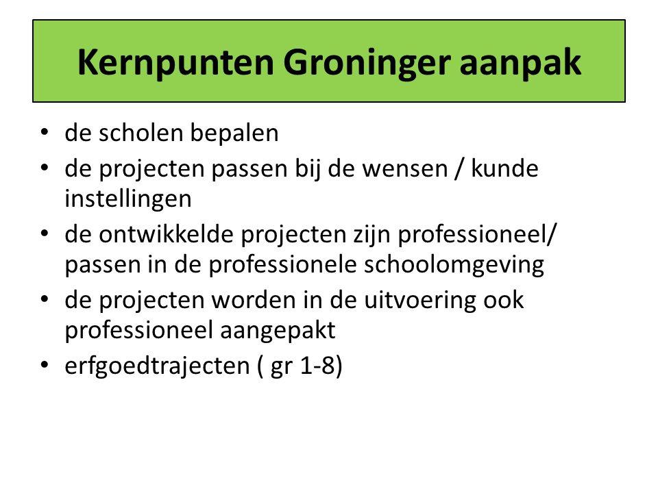 Kernpunten Groninger aanpak de scholen bepalen de projecten passen bij de wensen / kunde instellingen de ontwikkelde projecten zijn professioneel/ passen in de professionele schoolomgeving de projecten worden in de uitvoering ook professioneel aangepakt erfgoedtrajecten ( gr 1-8)