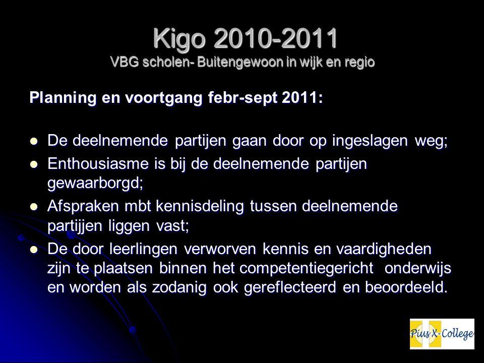 Kigo 2010-2011 VBG scholen- Buitengewoon in wijk en regio Kigo 2010-2011 VBG scholen- Buitengewoon in wijk en regio Planning en voortgang febr-sept 20