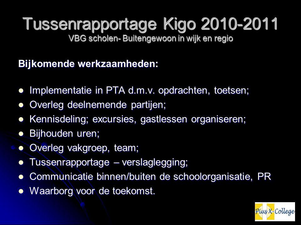 Tussenrapportage Kigo 2010-2011 VBG scholen- Buitengewoon in wijk en regio Bijkomende werkzaamheden: Implementatie in PTA d.m.v. opdrachten, toetsen;