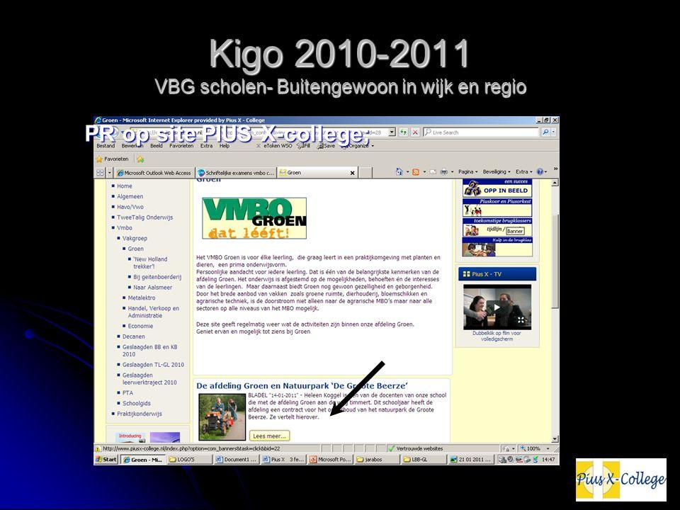 Kigo 2010-2011 VBG scholen- Buitengewoon in wijk en regio PR op site PIUS X-college;