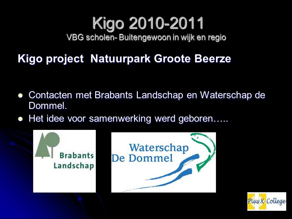 Kigo 2010-2011 VBG scholen- Buitengewoon in wijk en regio Kigo 2010-2011 VBG scholen- Buitengewoon in wijk en regio Kigo project Natuurpark Groote Beerze Contacten met Brabants Landschap en Waterschap de Dommel.