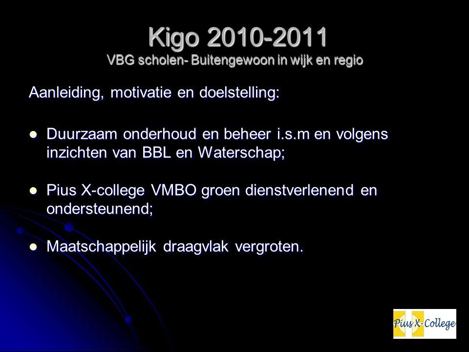 Kigo 2010-2011 VBG scholen- Buitengewoon in wijk en regio Kigo 2010-2011 VBG scholen- Buitengewoon in wijk en regio Aanleiding, motivatie en doelstelling: Duurzaam onderhoud en beheer i.s.m en volgens inzichten van BBL en Waterschap; Duurzaam onderhoud en beheer i.s.m en volgens inzichten van BBL en Waterschap; Pius X-college VMBO groen dienstverlenend en ondersteunend; Pius X-college VMBO groen dienstverlenend en ondersteunend; Maatschappelijk draagvlak vergroten.