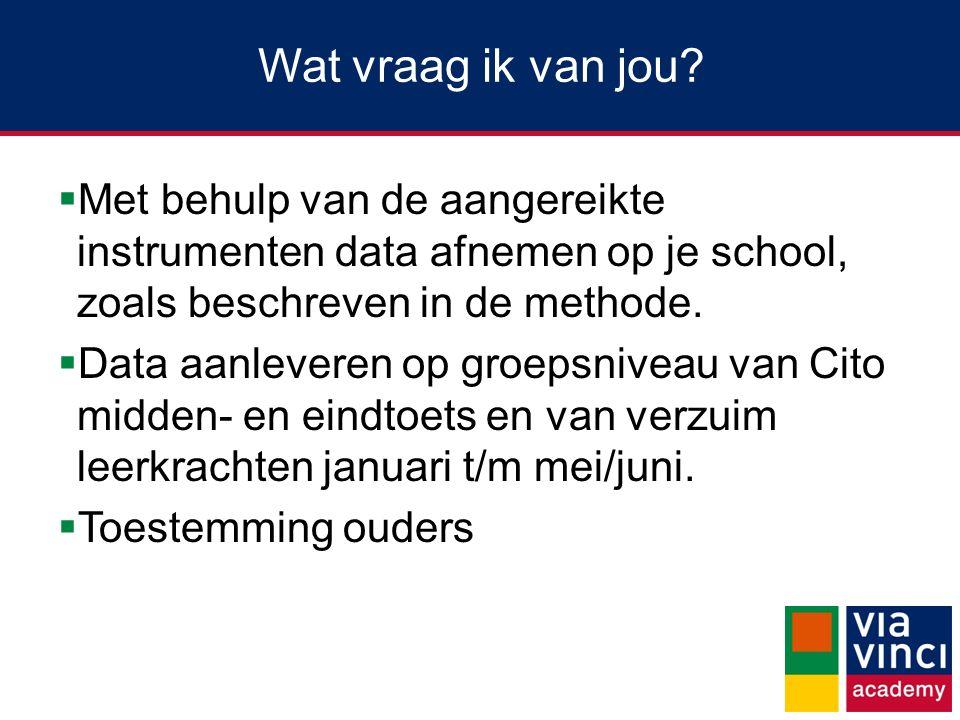 Wat vraag ik van jou?  Met behulp van de aangereikte instrumenten data afnemen op je school, zoals beschreven in de methode.  Data aanleveren op gro
