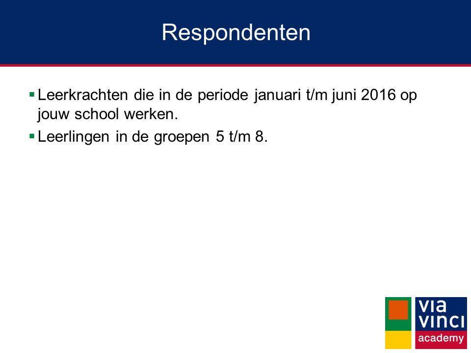 Respondenten  Leerkrachten die in de periode januari t/m juni 2016 op jouw school werken.  Leerlingen in de groepen 5 t/m 8.