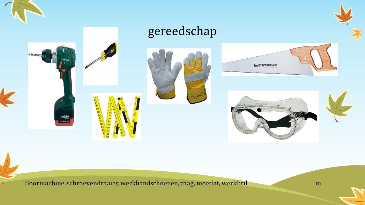gereedschap Boormachine, schroevendraaier, werkhandschoenen, zaag, meetlat, werkbril m