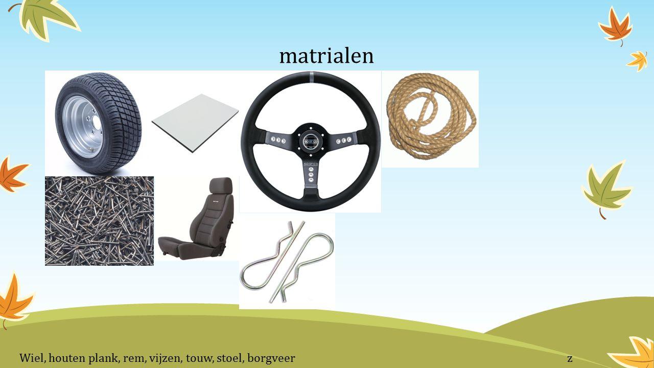 matrialen Wiel, houten plank, rem, vijzen, touw, stoel, borgveer z