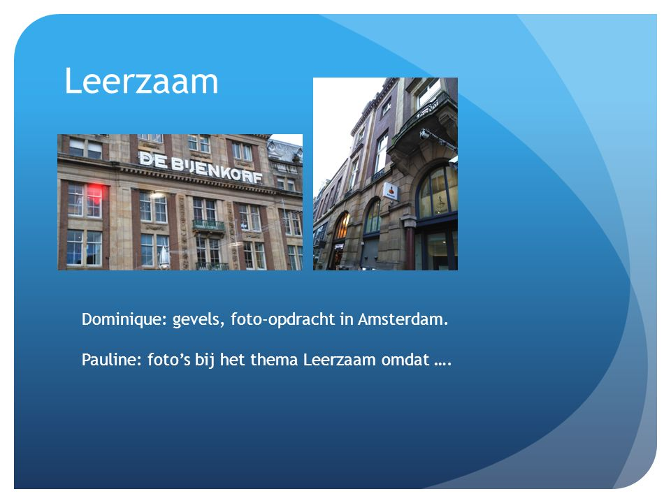 Leerzaam Dominique: gevels, foto-opdracht in Amsterdam. Pauline: foto's bij het thema Leerzaam omdat ….