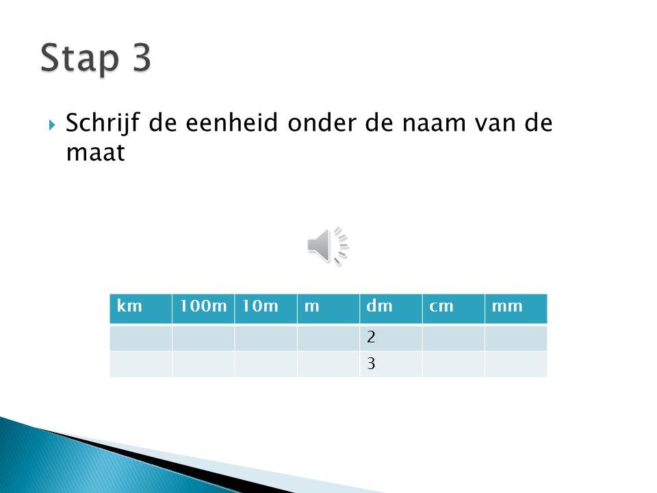  Schrijf de eenheid onder de naam van de maat km100m10mmdmcmmm 2 3