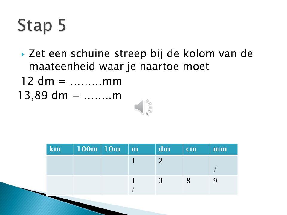  Zet een schuine streep bij de kolom van de maateenheid waar je naartoe moet 12 dm = ………mm 13,89 dm = ……..m km100m10mmdmcmmm 12 / 1/1/ 389