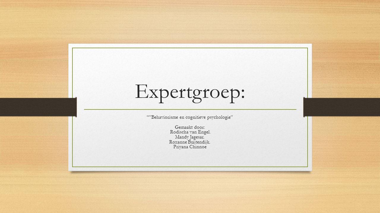 """Expertgroep: """"""""Behaviorisme en cognitieve psychologie"""" Gemaakt door: Rodischa van Engel. Mandy Jagesar. Roxanne Buijtendijk. Priyana Chinnoe"""