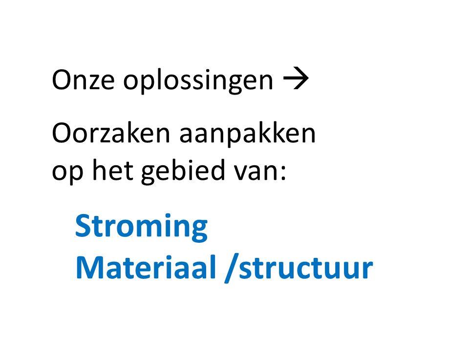 Onze oplossingen  Oorzaken aanpakken op het gebied van: Stroming Materiaal /structuur