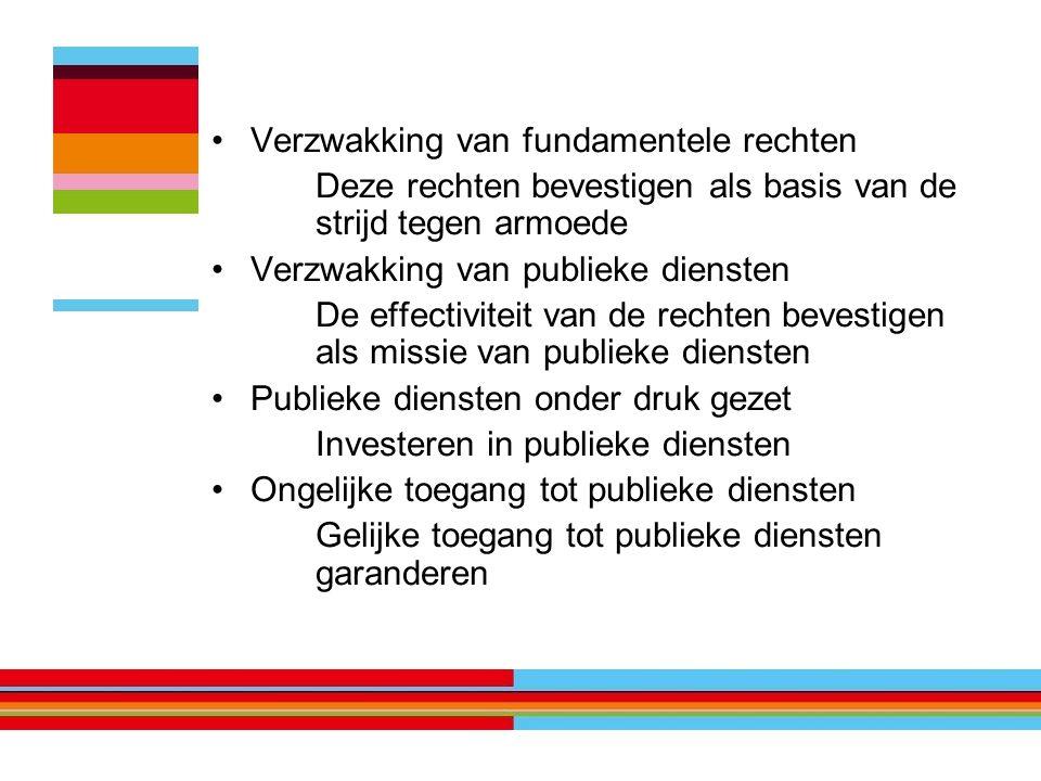 Verzwakking van fundamentele rechten Deze rechten bevestigen als basis van de strijd tegen armoede Verzwakking van publieke diensten De effectiviteit van de rechten bevestigen als missie van publieke diensten Publieke diensten onder druk gezet Investeren in publieke diensten Ongelijke toegang tot publieke diensten Gelijke toegang tot publieke diensten garanderen