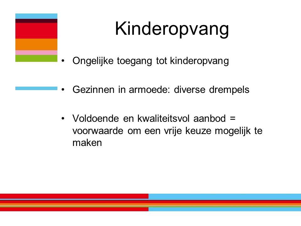 Kinderopvang Ongelijke toegang tot kinderopvang Gezinnen in armoede: diverse drempels Voldoende en kwaliteitsvol aanbod = voorwaarde om een vrije keuze mogelijk te maken