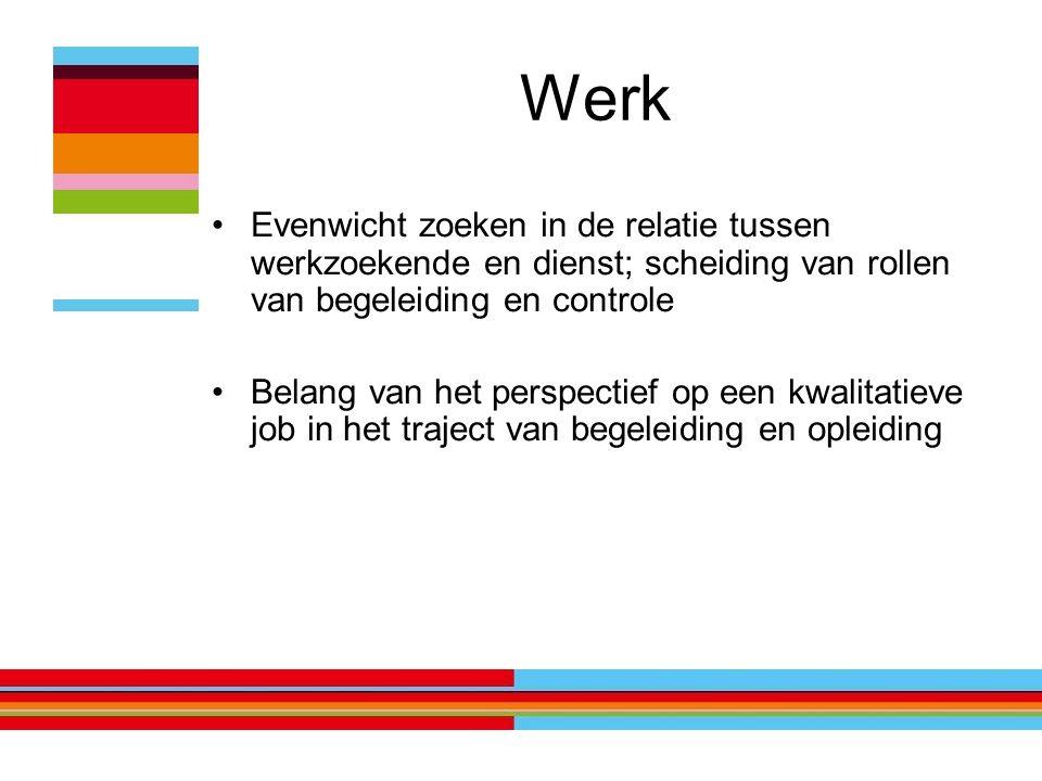 Werk Evenwicht zoeken in de relatie tussen werkzoekende en dienst; scheiding van rollen van begeleiding en controle Belang van het perspectief op een kwalitatieve job in het traject van begeleiding en opleiding