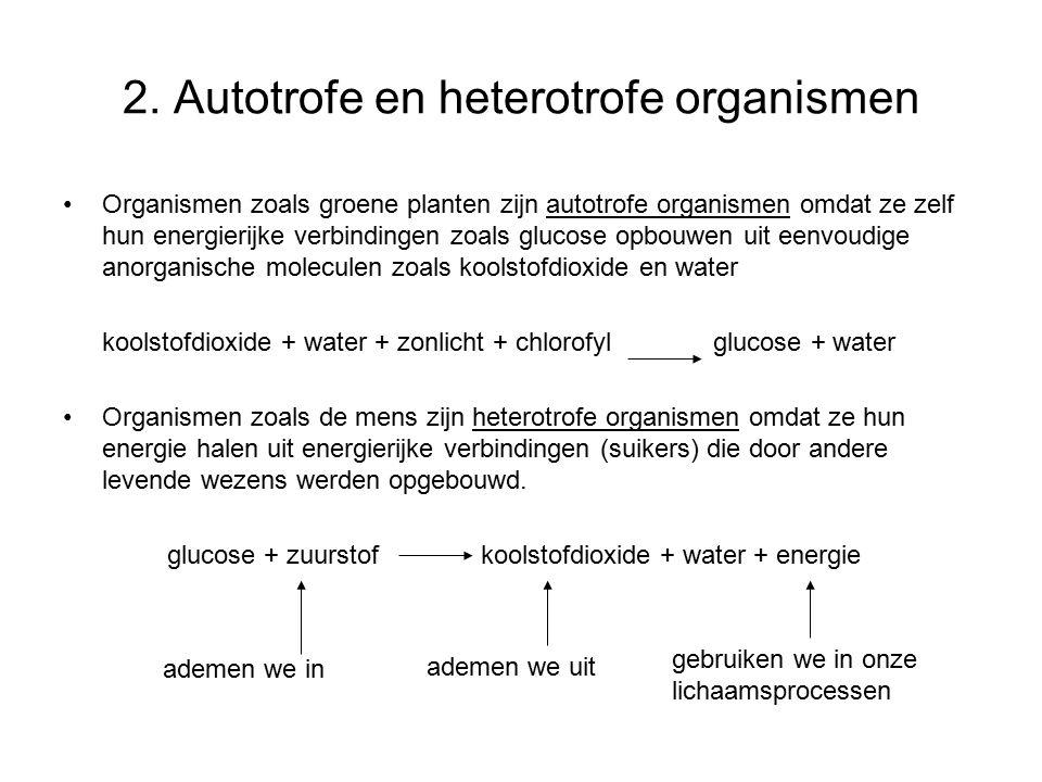 2. Autotrofe en heterotrofe organismen Organismen zoals groene planten zijn autotrofe organismen omdat ze zelf hun energierijke verbindingen zoals glu