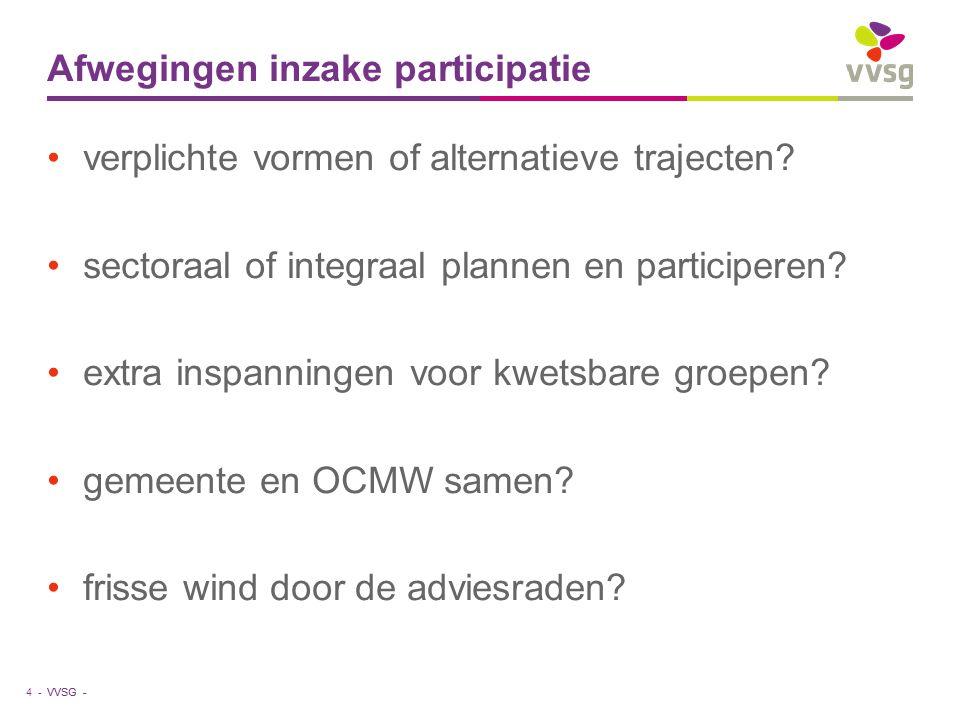 VVSG - Afwegingen inzake participatie verplichte vormen of alternatieve trajecten.