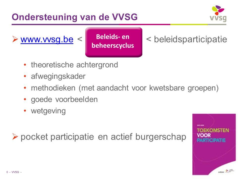 VVSG - Ondersteuning van de VVSG  www.vvsg.be < < beleidsparticipatie www.vvsg.be theoretische achtergrond afwegingskader methodieken (met aandacht voor kwetsbare groepen) goede voorbeelden wetgeving  pocket participatie en actief burgerschap 6 -23-1-2016