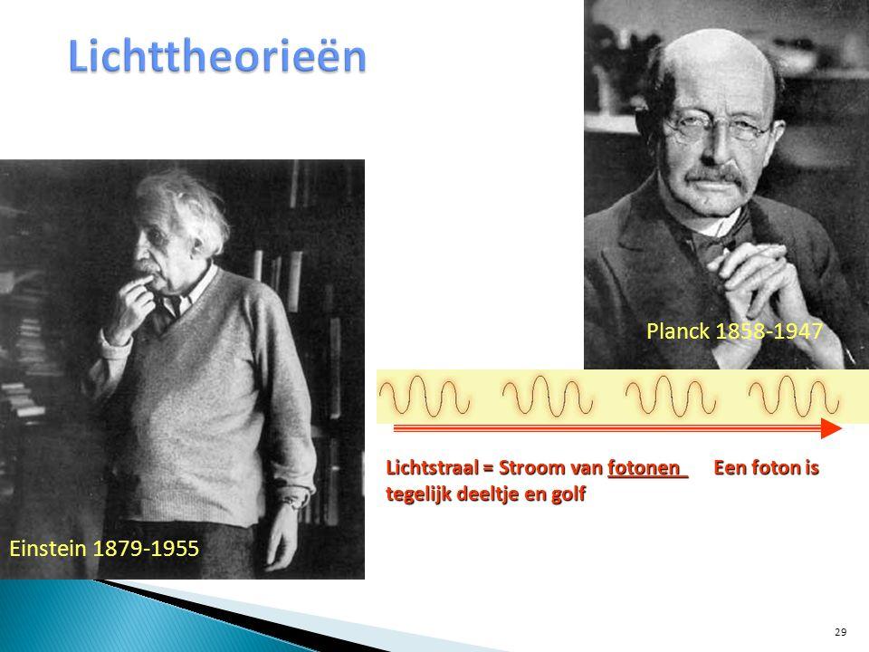 Lichtstraal = Stroom van fotonen Een foton is tegelijk deeltje en golf Einstein 1879-1955 Planck 1858-1947 29
