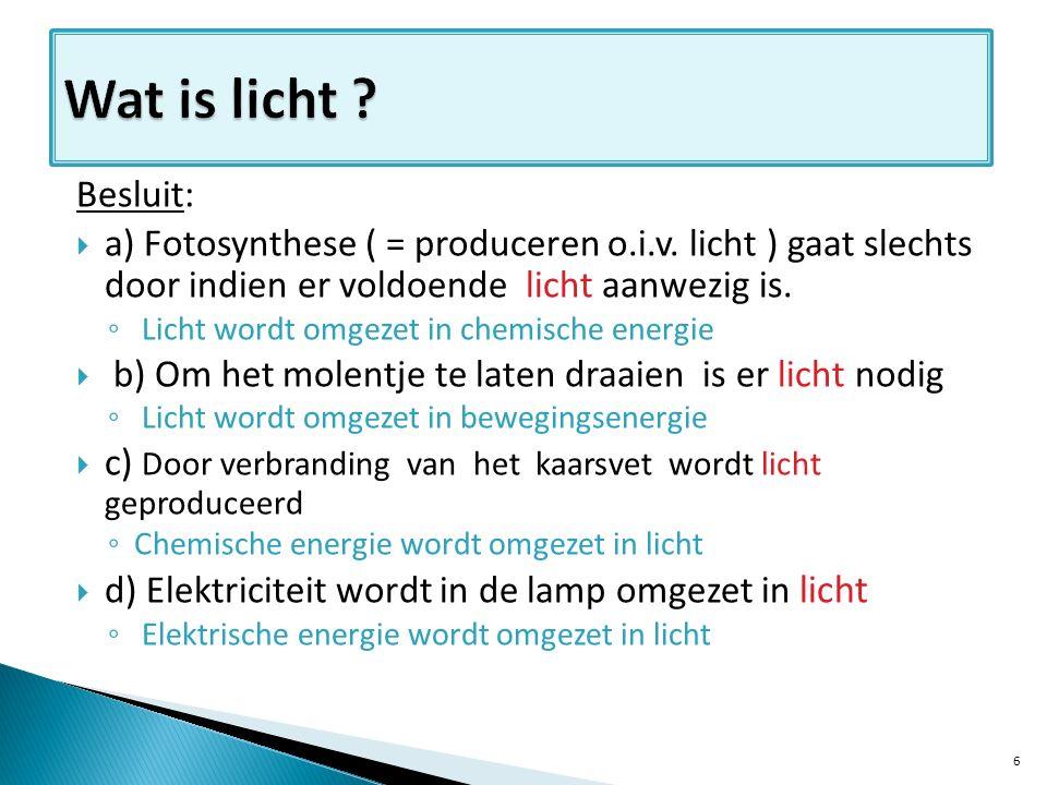 Algemene conclusie  Licht heeft verschillende uitwerkingen.
