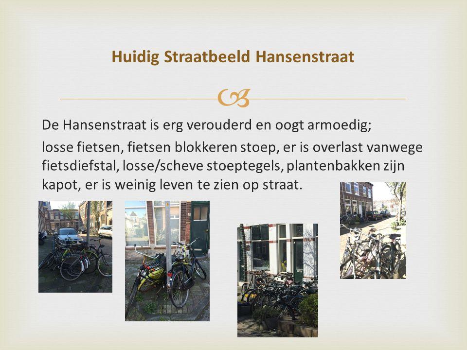  De Hansenstraat is erg verouderd en oogt armoedig; losse fietsen, fietsen blokkeren stoep, er is overlast vanwege fietsdiefstal, losse/scheve stoeptegels, plantenbakken zijn kapot, er is weinig leven te zien op straat.
