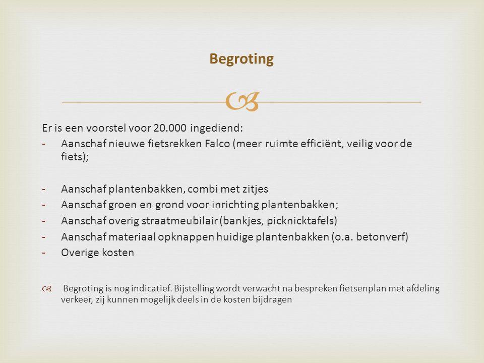  Er is een voorstel voor 20.000 ingediend: -Aanschaf nieuwe fietsrekken Falco (meer ruimte efficiënt, veilig voor de fiets); -Aanschaf plantenbakken, combi met zitjes -Aanschaf groen en grond voor inrichting plantenbakken; -Aanschaf overig straatmeubilair (bankjes, picknicktafels) -Aanschaf materiaal opknappen huidige plantenbakken (o.a.