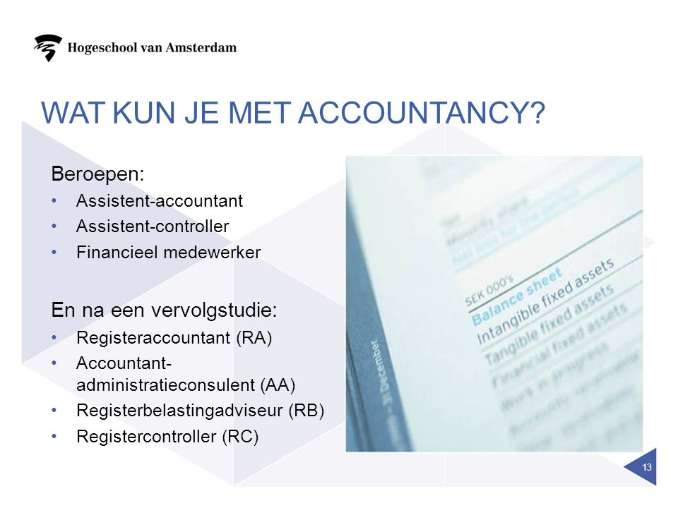 WAT KUN JE MET ACCOUNTANCY.