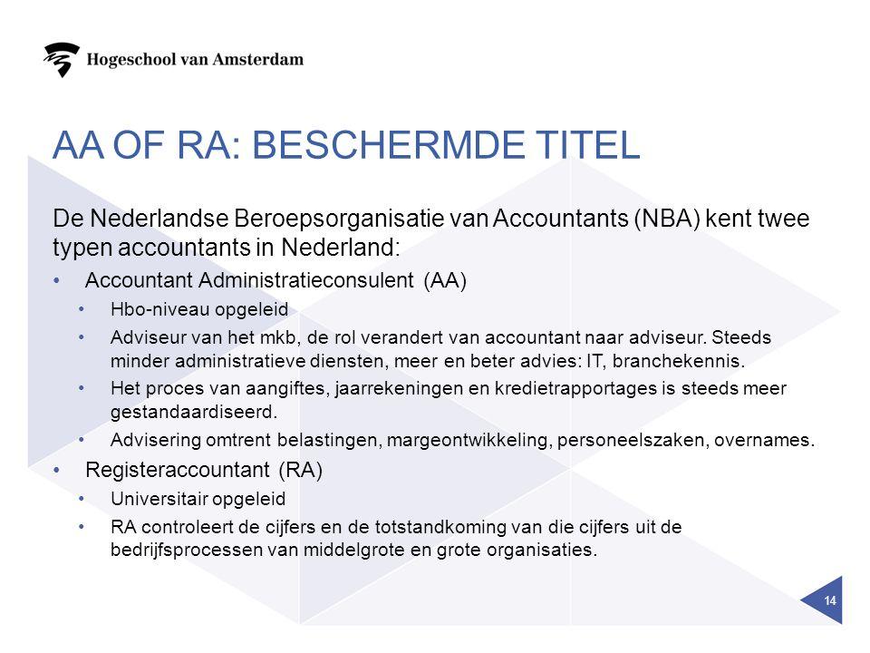 AA OF RA: BESCHERMDE TITEL De Nederlandse Beroepsorganisatie van Accountants (NBA) kent twee typen accountants in Nederland: Accountant Administratiec