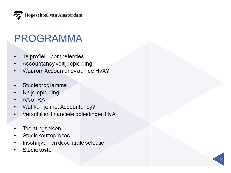 PROGRAMMA Je profiel – competenties Accountancy voltijdopleiding Waarom Accountancy aan de HvA? Studieprogramma Na je opleiding AA of RA Wat kun je me