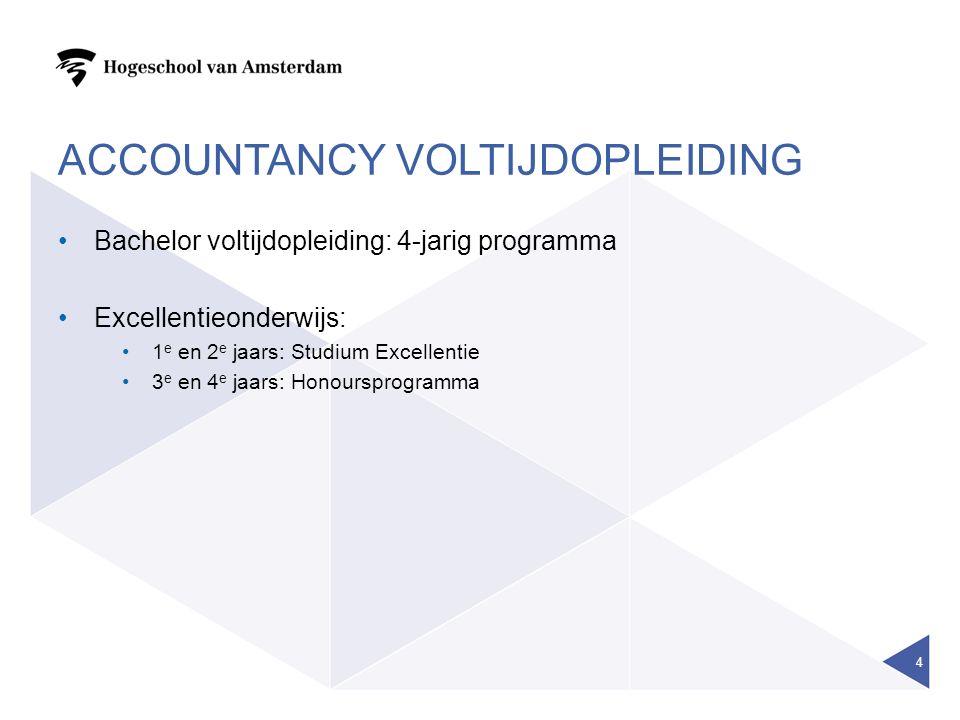 ACCOUNTANCY VOLTIJDOPLEIDING Bachelor voltijdopleiding: 4-jarig programma Excellentieonderwijs: 1 e en 2 e jaars: Studium Excellentie 3 e en 4 e jaars