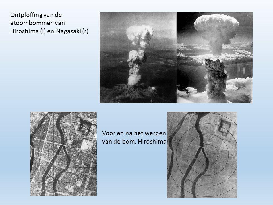 Ontploffing van de atoombommen van Hiroshima (l) en Nagasaki (r) Voor en na het werpen van de bom, Hiroshima