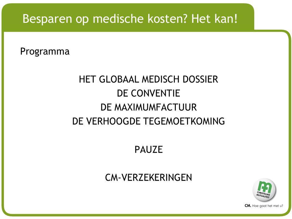 # Besparen op medische kosten? Het kan! Programma HET GLOBAAL MEDISCH DOSSIER DE CONVENTIE DE MAXIMUMFACTUUR DE VERHOOGDE TEGEMOETKOMING PAUZE CM-VERZ