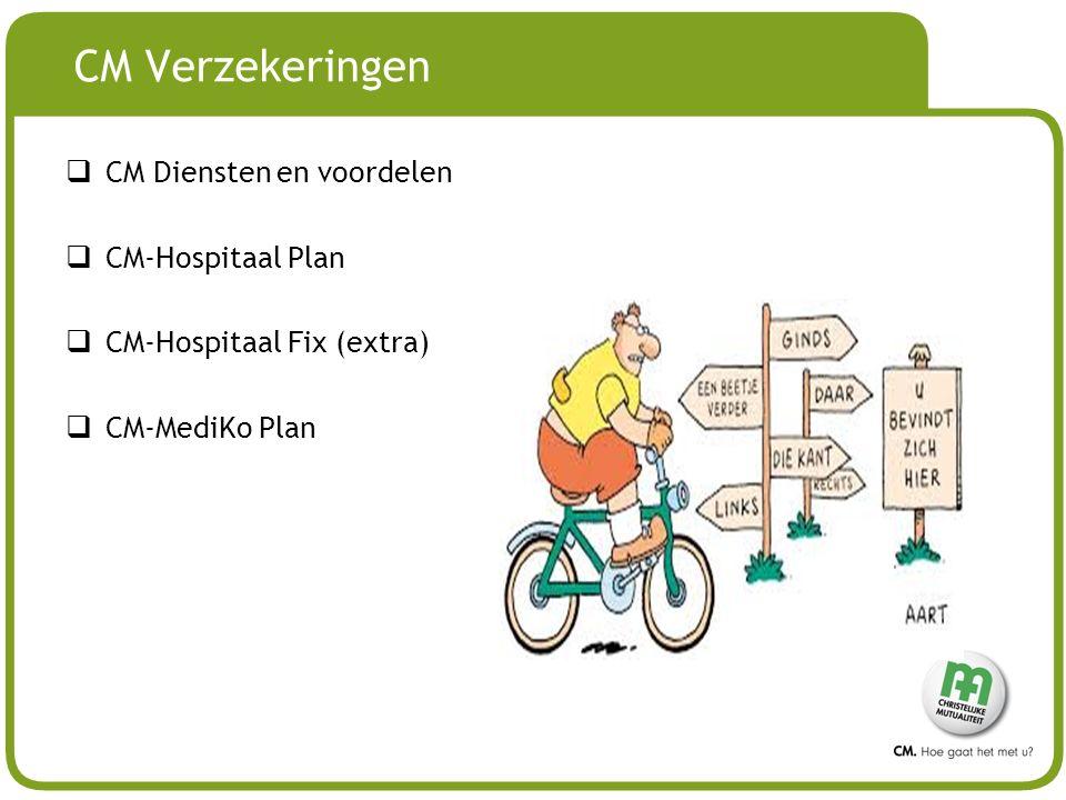 # CM Verzekeringen  CM Diensten en voordelen  CM-Hospitaal Plan  CM-Hospitaal Fix (extra)  CM-MediKo Plan