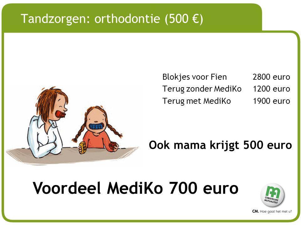 # Tandzorgen: orthodontie (500 €) Blokjes voor Fien 2800 euro Terug zonder MediKo 1200 euro Terug met MediKo1900 euro Voordeel MediKo 700 euro Ook mam