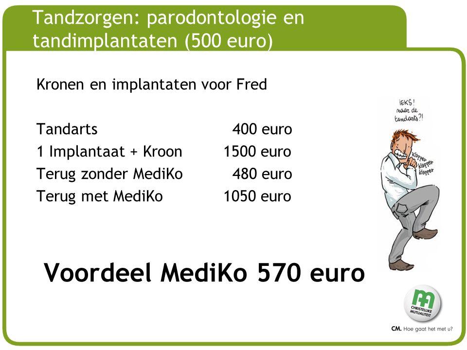 # Tandzorgen: parodontologie en tandimplantaten (500 euro) Kronen en implantaten voor Fred Tandarts 400 euro 1 Implantaat + Kroon1500 euro Terug zonder MediKo 480 euro Terug met MediKo1050 euro Voordeel MediKo 570 euro