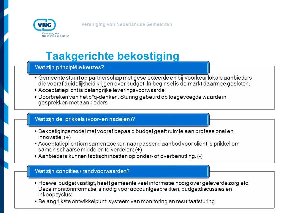 Vereniging van Nederlandse Gemeenten Gemeente stuurt op partnerschap met geselecteerde en bij voorkeur lokale aanbieders die vooraf duidelijkheid krijgen over budget.