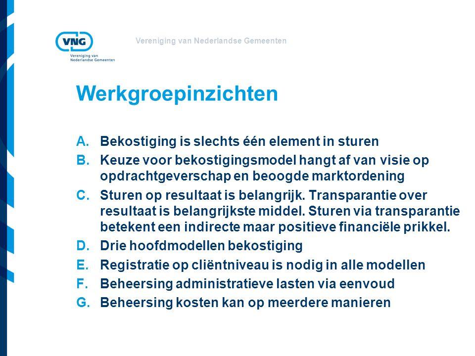Vereniging van Nederlandse Gemeenten A.Bekostiging is slechts één element in sturen B.Keuze voor bekostigingsmodel hangt af van visie op opdrachtgeverschap en beoogde marktordening C.Sturen op resultaat is belangrijk.