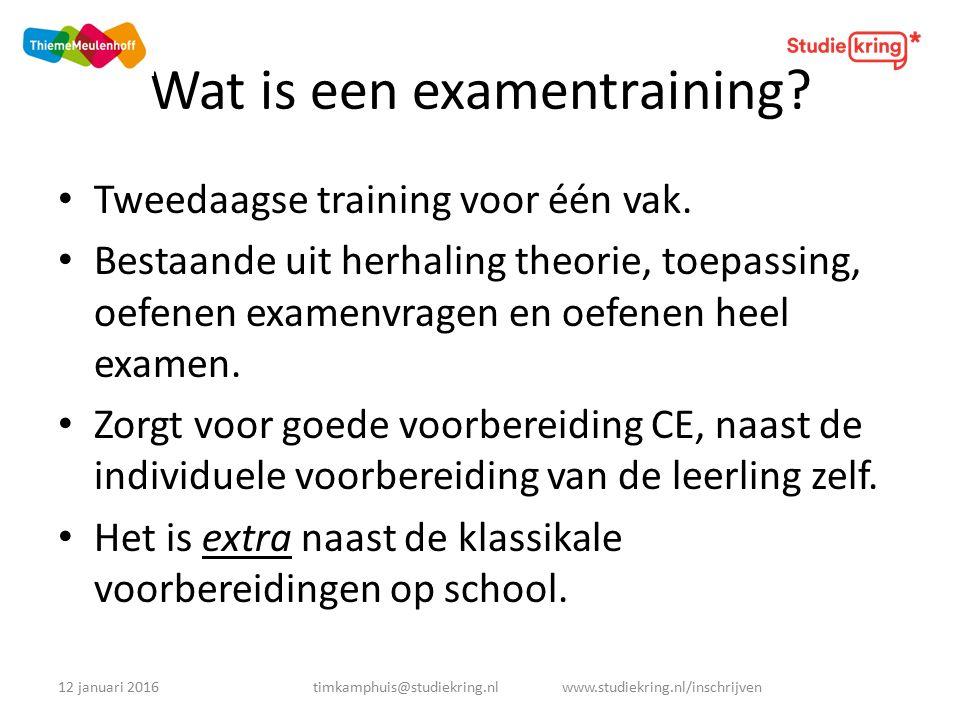 Wat is een examentraining. Tweedaagse training voor één vak.