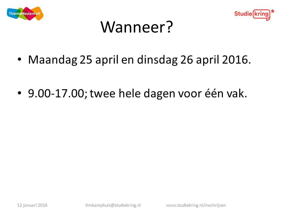 Voor wie.Leerlingen van het Veluws College Walterbosch zittende in het examenjaar (5HAVO en 6VWO).