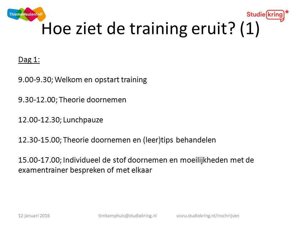 Hoe ziet de training eruit.