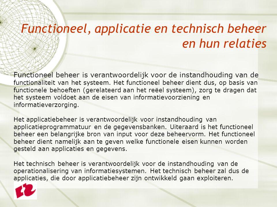 Functioneel, applicatie en technisch beheer en hun relaties Functioneel beheer is verantwoordelijk voor de instandhouding van de functionaliteit van het systeem.