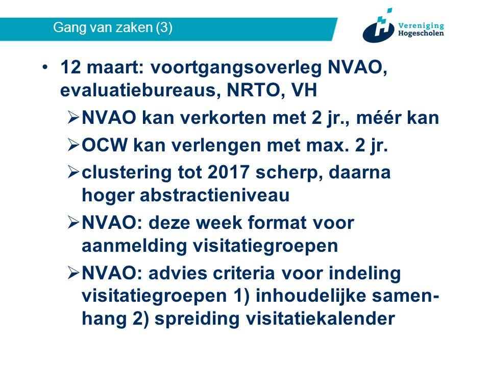 Gang van zaken (3) 12 maart: voortgangsoverleg NVAO, evaluatiebureaus, NRTO, VH  NVAO kan verkorten met 2 jr., méér kan  OCW kan verlengen met max.